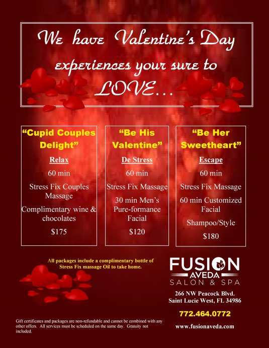 Valentines spa specials thin blog for Accent styling salon gainesville